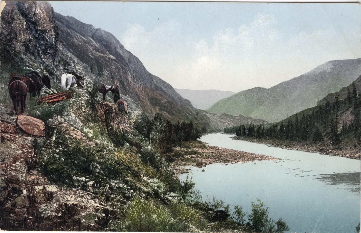 Вьючная тропа вдоль реки Катунь в районе впадения в нее реки Аргут. Около горы и ручья Юхтенер