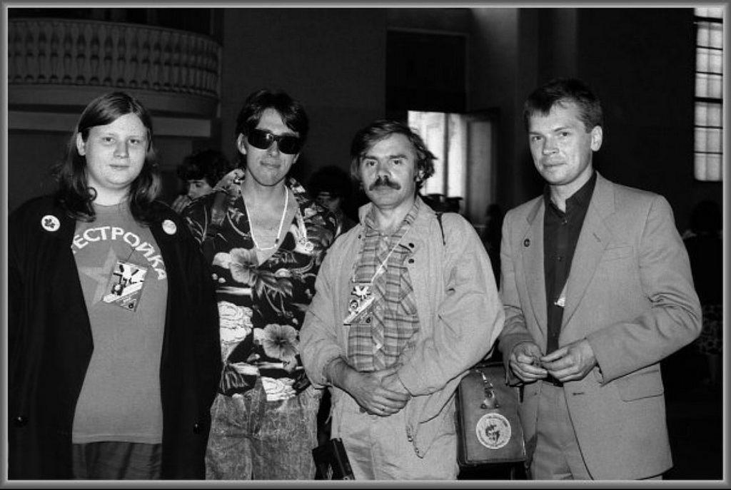 VI Рок-фестиваль. Алексей Вишня, Сергей Курёхин, Андрей Усов и Коля Михайлов. 1988