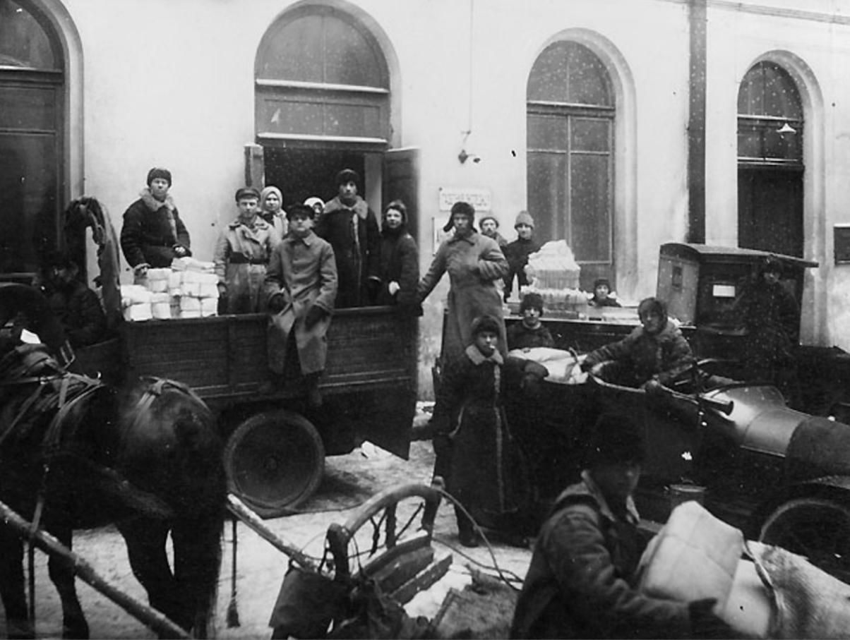 1922. Грузовой двор Петроградского почтамта