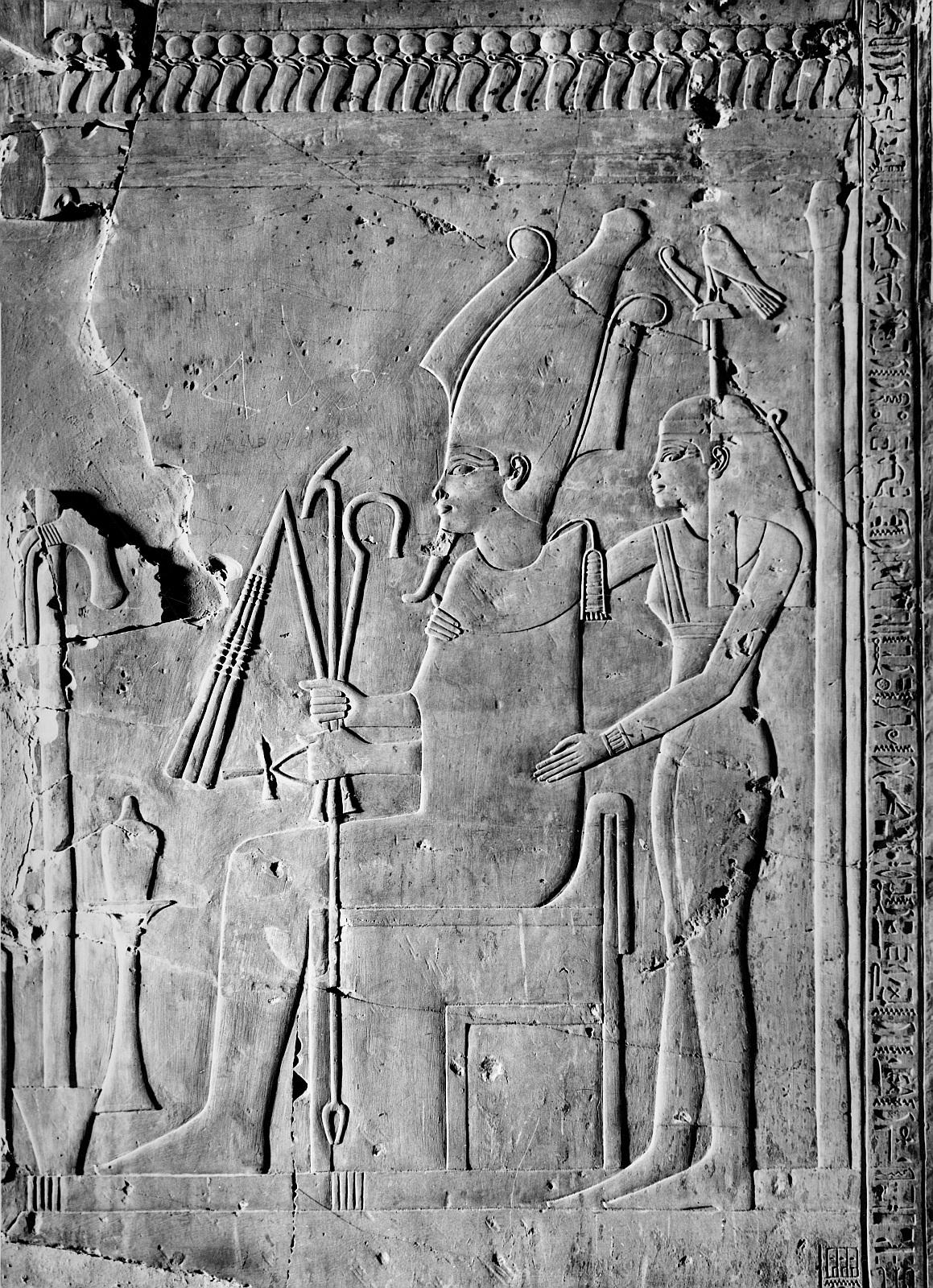 Абидос. Храм Сети I.  Рельеф «Осирис с богиней»