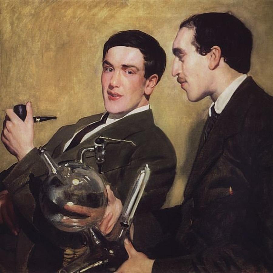 Борис Кустодиев. Портрет Петра Капицы и Николая Семёнова, 1921.