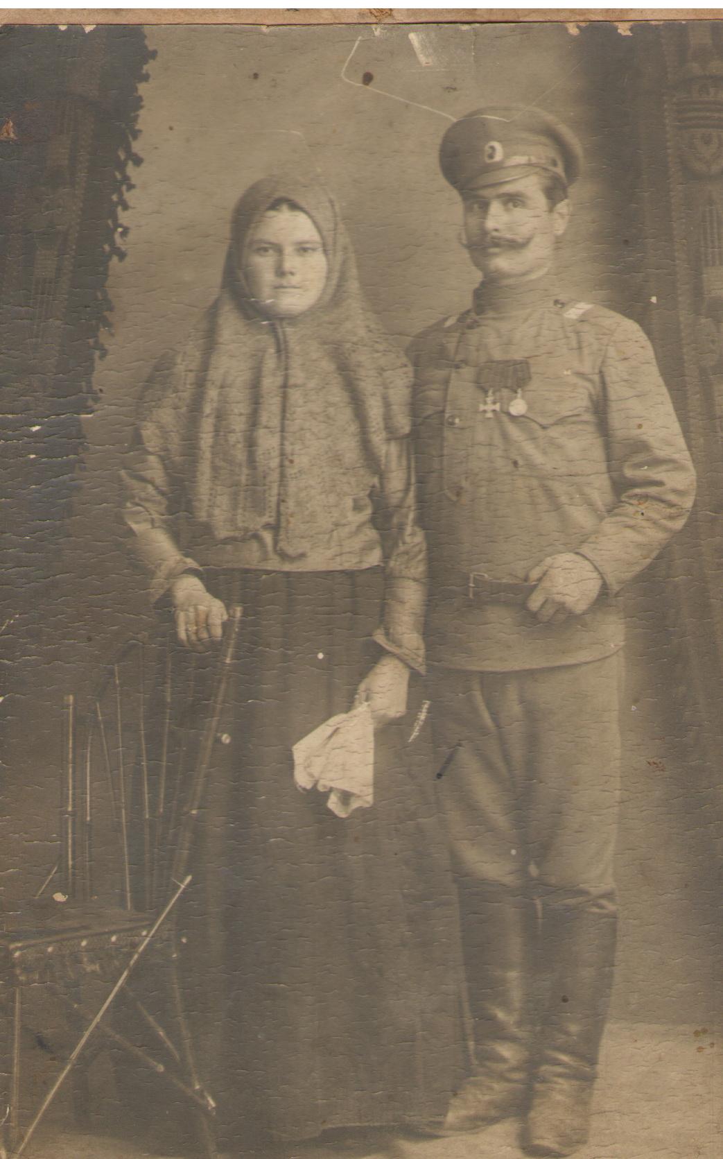 Георгиевский кавалер И.И. Рязанцев с супругой, уроженец с. Бормы Самарской губернии
