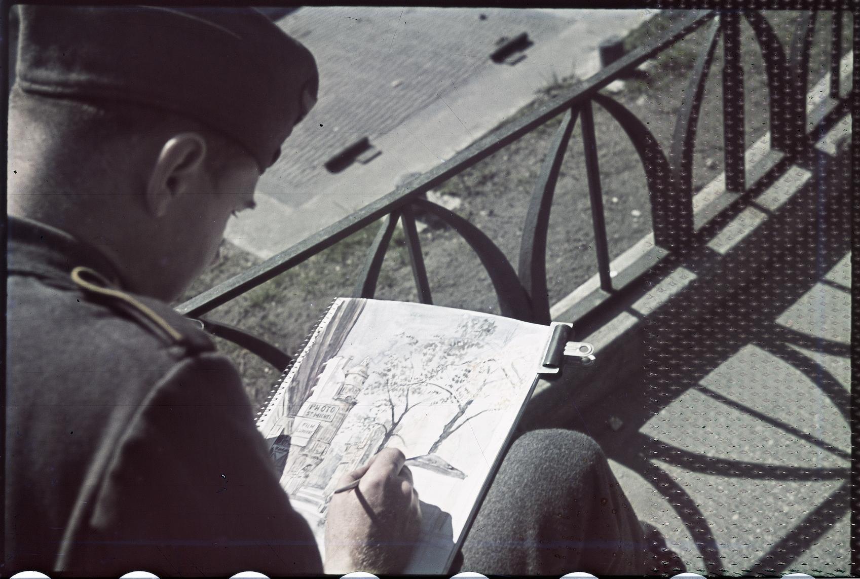 Немецкий художник на площади Сен-Мишель