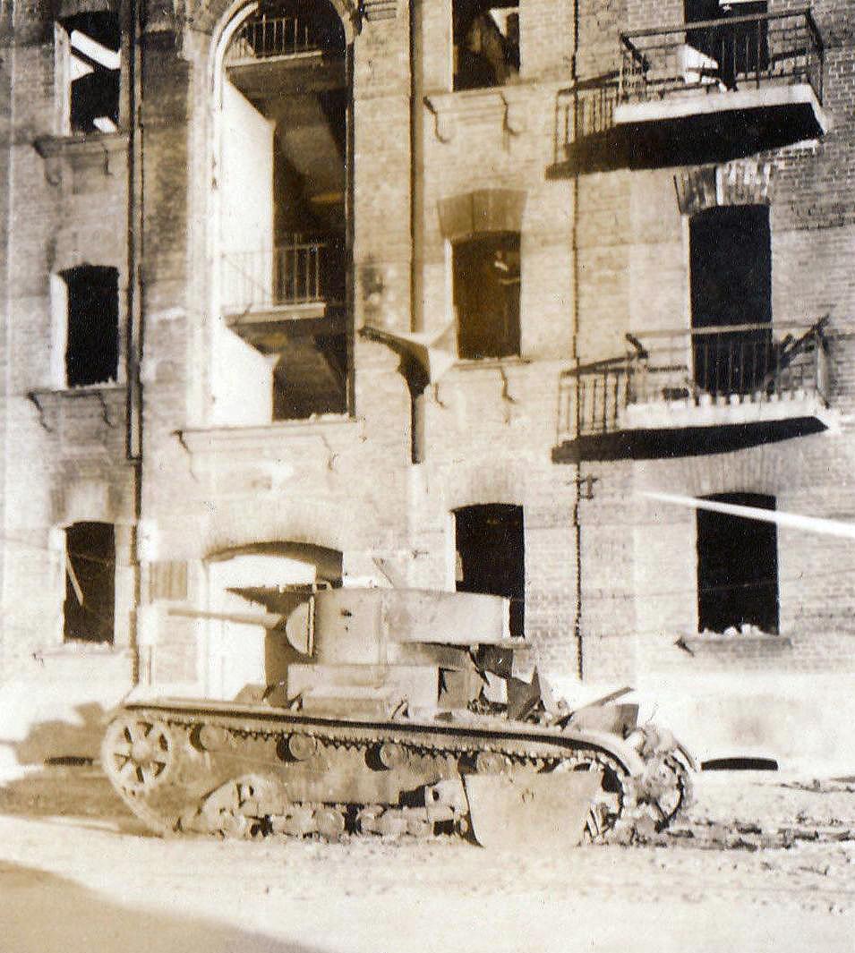 1941. Подбитый Т-26 на Старо-Ленинградской улице