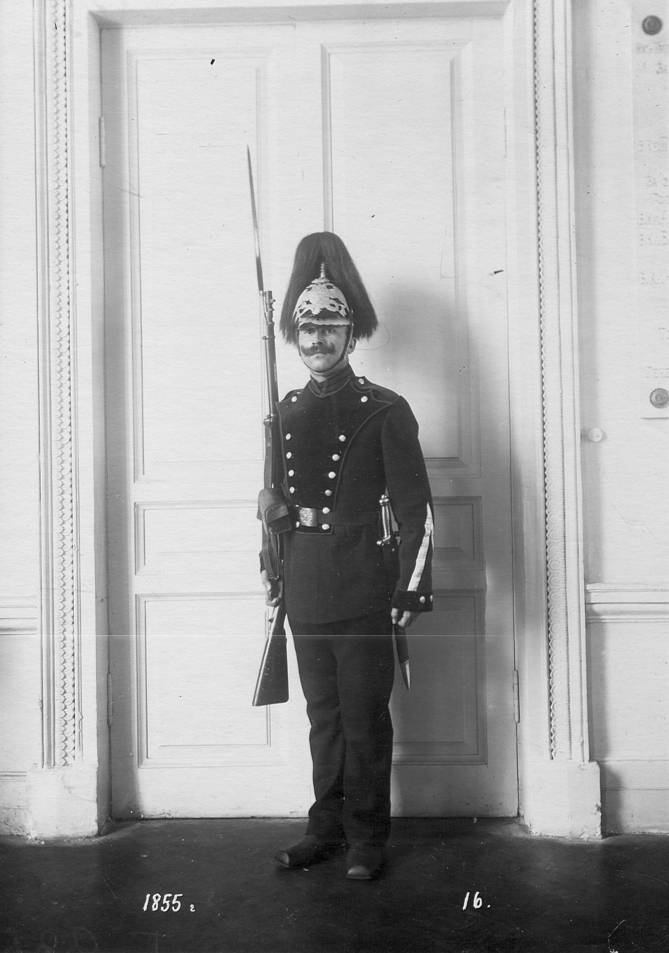 Рядовой сапер батальона в форме образца 1855 года.