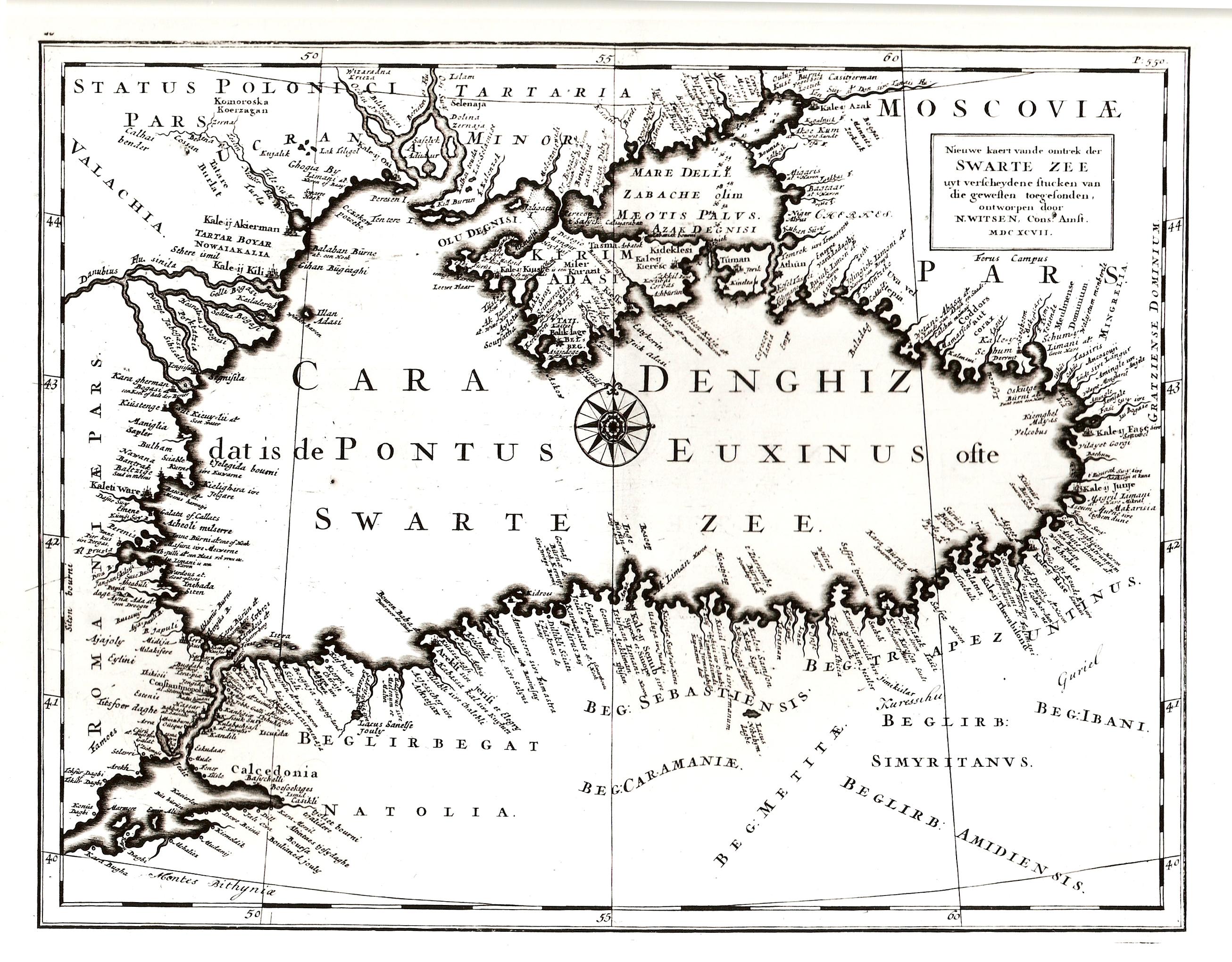 Карта Черного моря, составленная Витсеном в 1697 г.