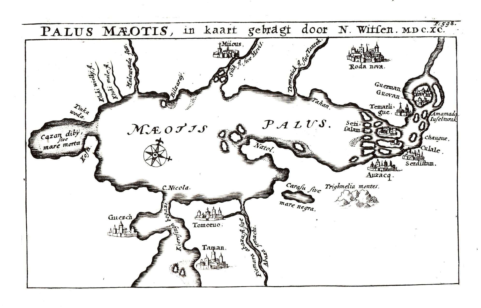Меотийское болото, т.е. Азовское море нанесенное Н. Витсеном на карту в 1690