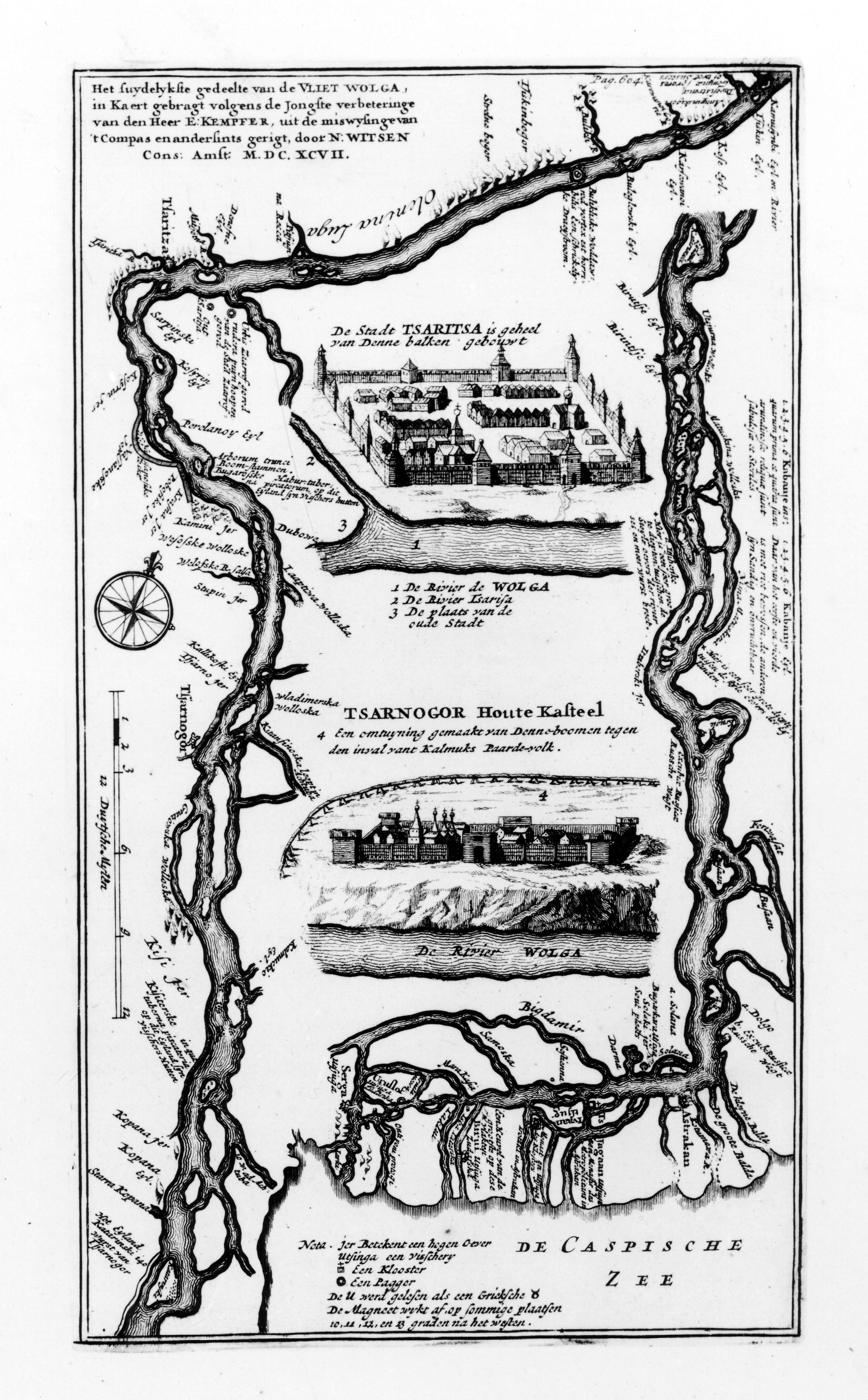 Южная часть реки Волги согласно последним исправлениям Е. Кемпера