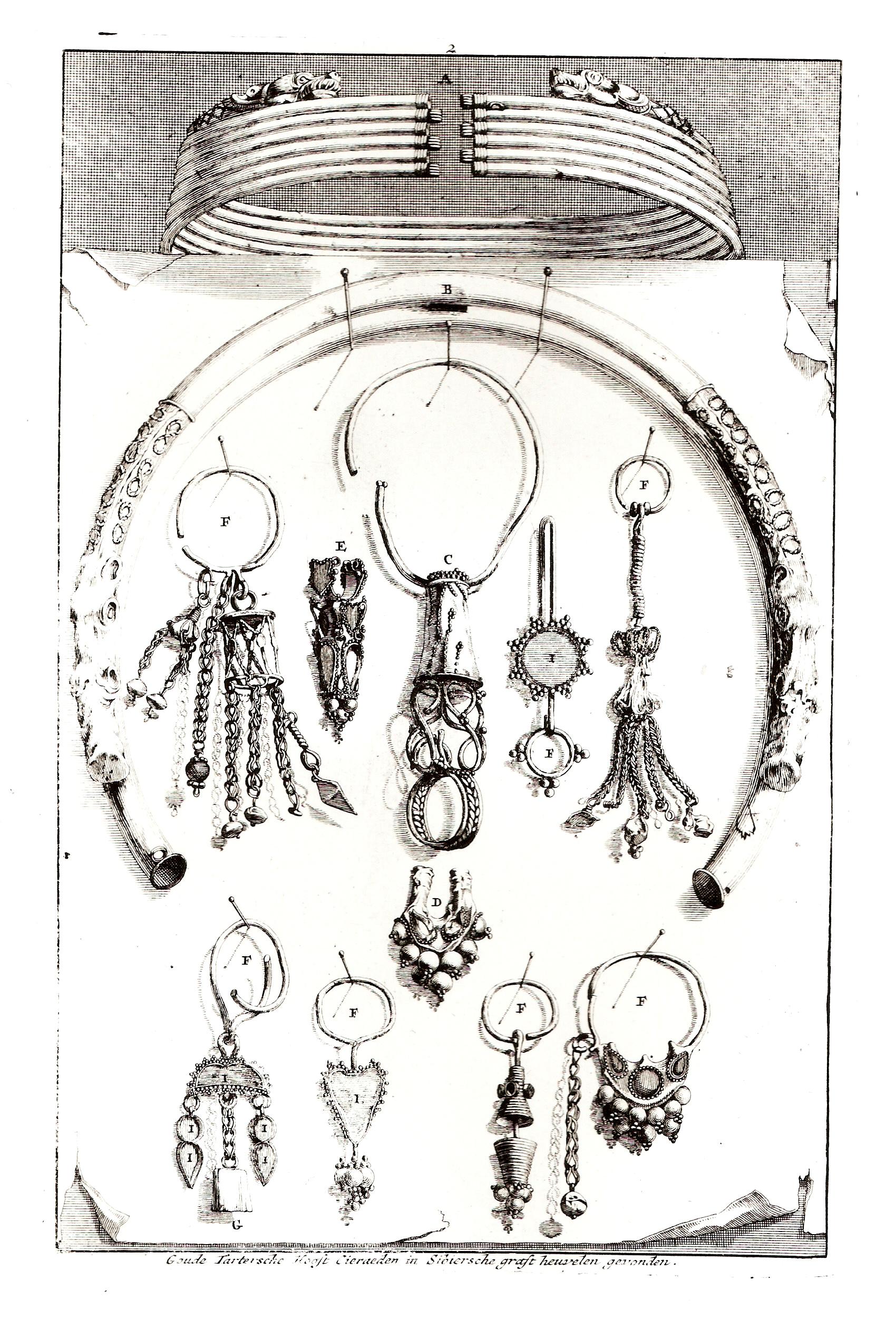 Золотые тартарские головные украшения, найденные в сибирских погребальных курганах