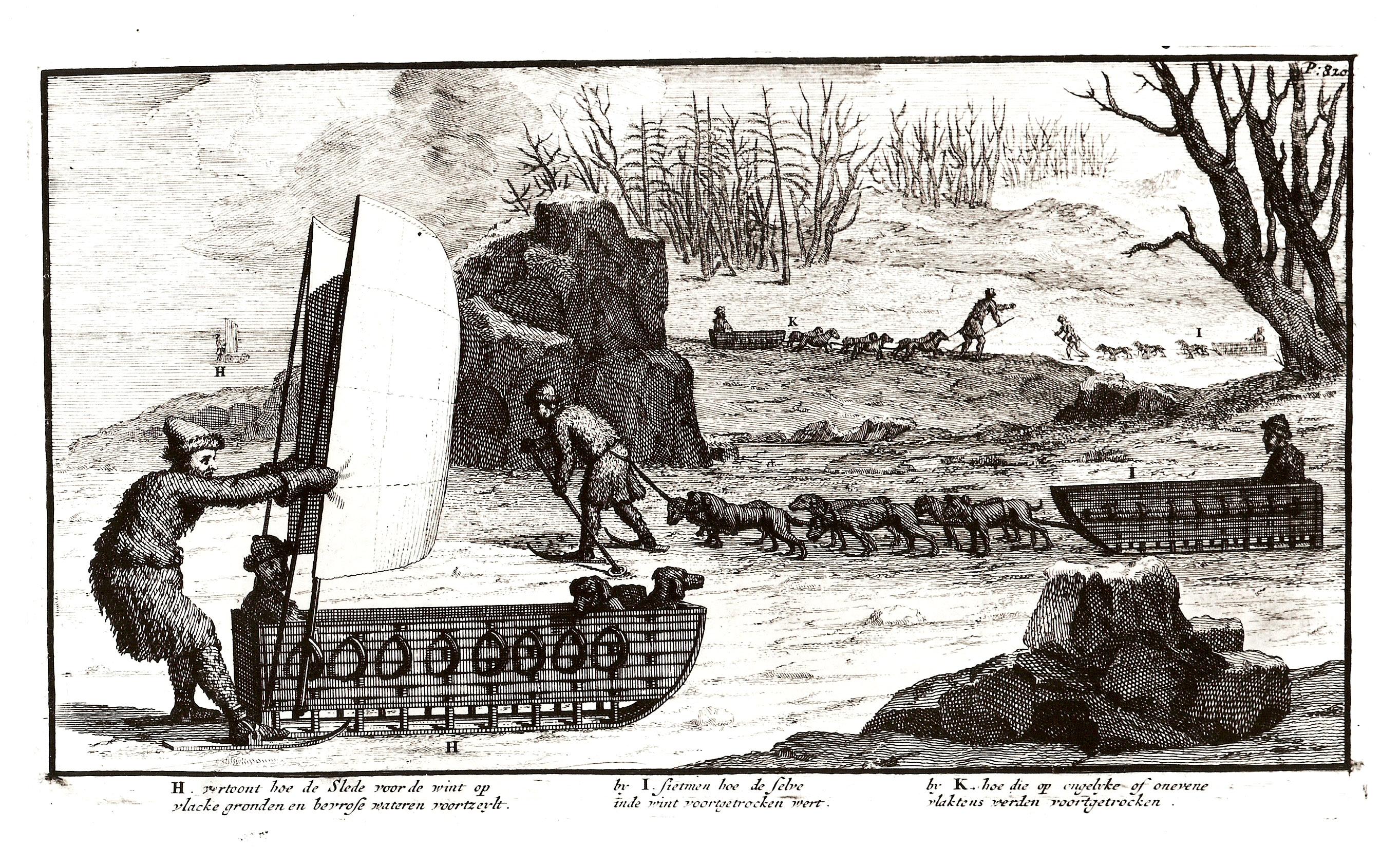 Показывает как парусные сани передвигаются с помощью ветра по  ровной земле и по замершей воде.