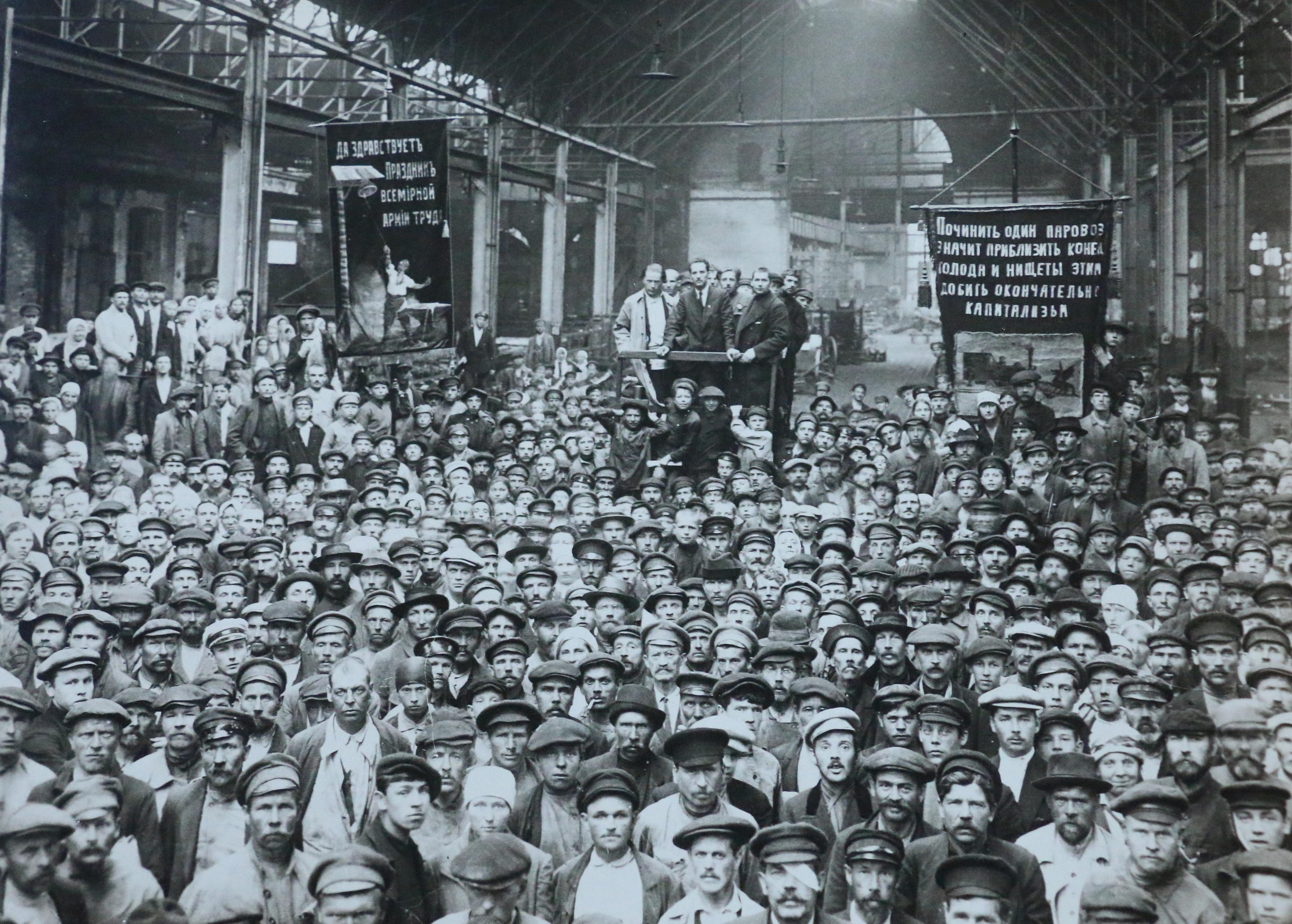 Путиловский завод, митинг рабочих. Июль