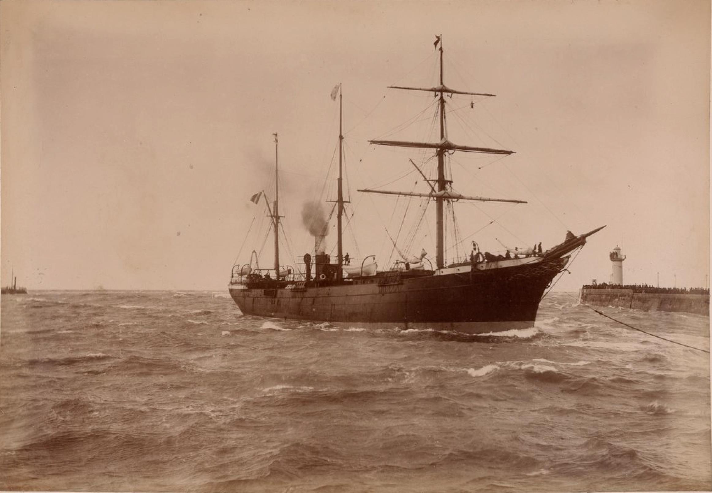 Компания «Chargeurs Reunis». Гавр. Пассажирское судно «Рио-де-Жанейро». Линия Гавр - Южная Америка. В субботу 7 мая 1886 года в полдень на обратном пути из Америки столкнулся с почтовым с