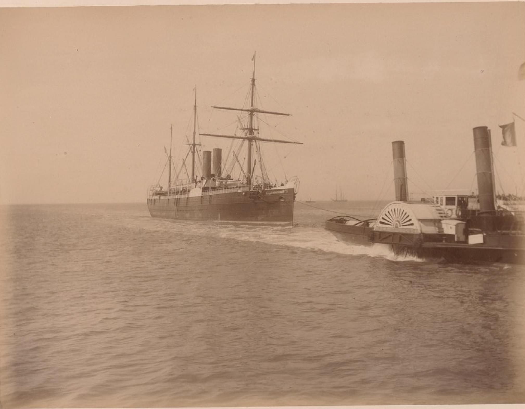 Трансатлантическая компания. Гавр. Старый пассажирский корабль «Канада». Линии Гавр - Нью-Йорк и Гавр - Колон