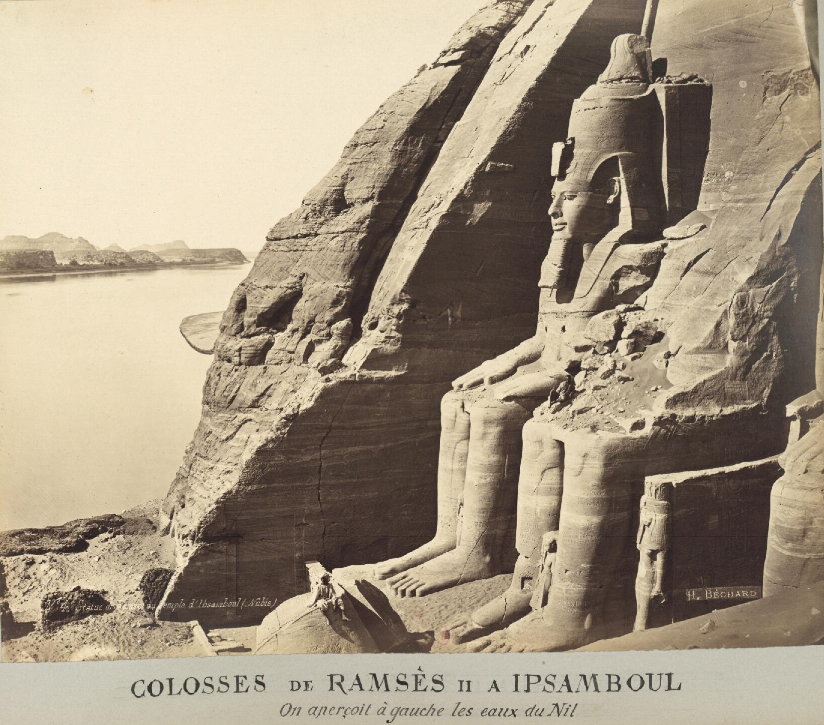 Абу-Симбел. Колоссы Рамзеса II в Ипсамбуле (Нубия). Слева мы видим воды Нила