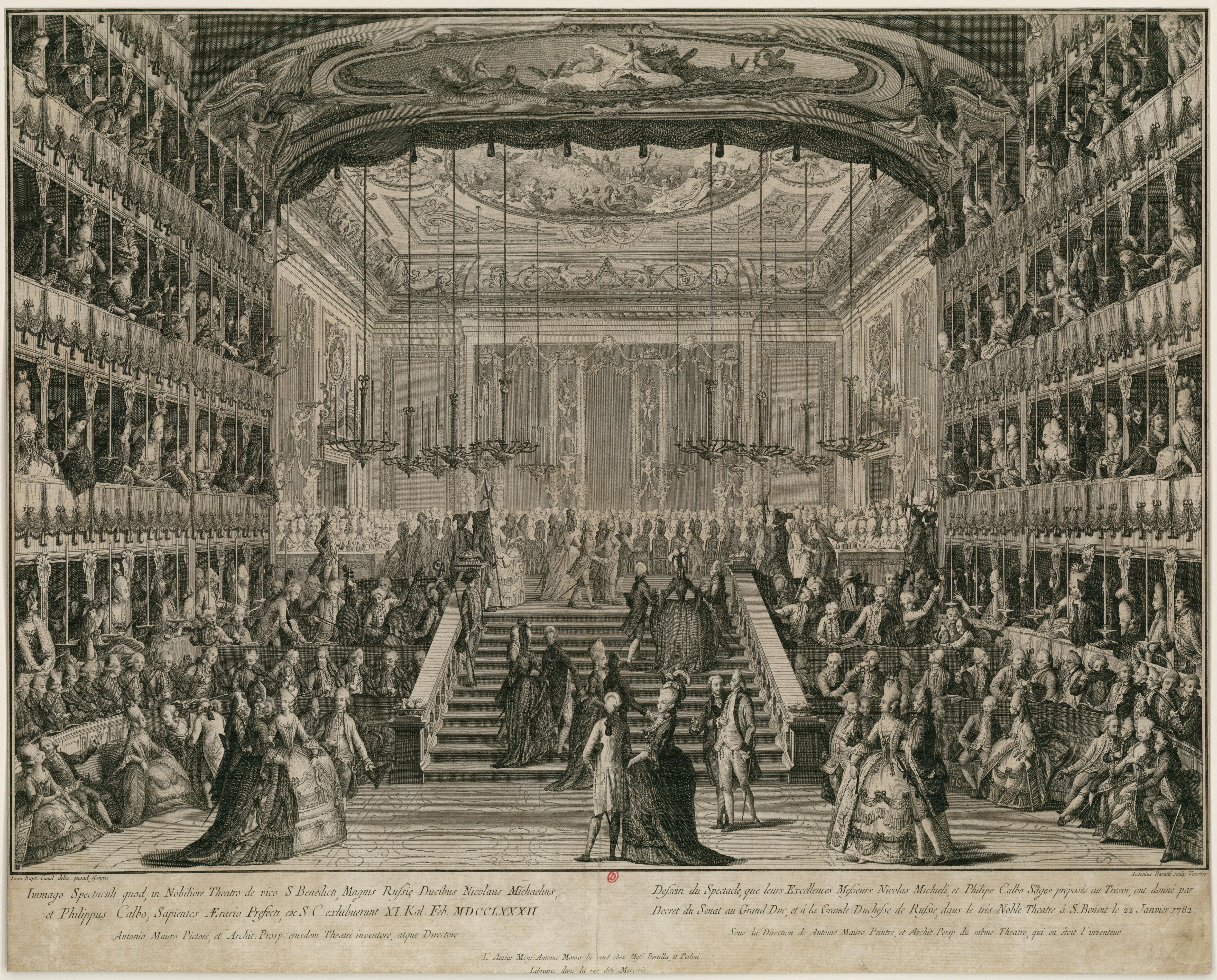 В честь высоких гостей были даны бал и торжественный ужин в театре Сан-Бенедетто.  22 января 1782