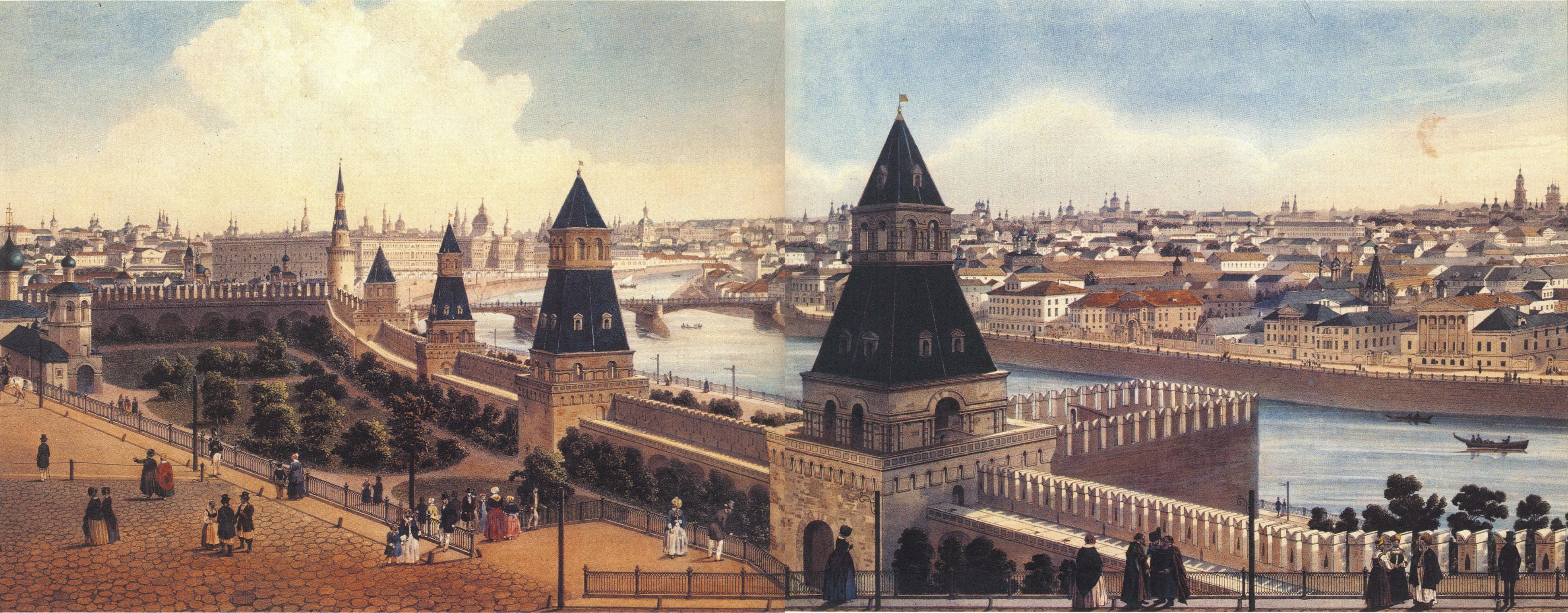 1850-е. Панорама Кремля и Замоскворечья от Тайницкой башни1