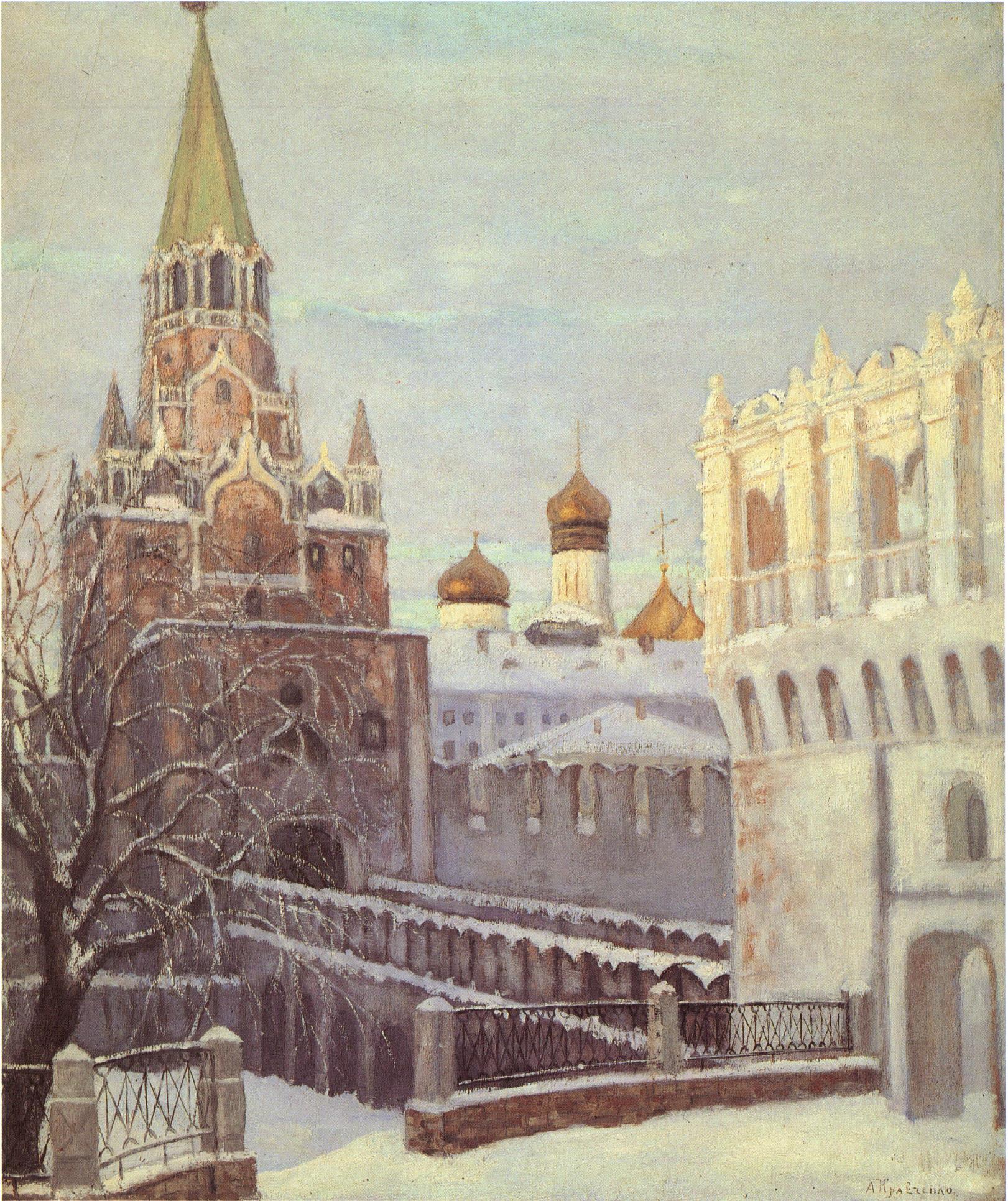 Кремль зимой. Кутафья и Троицкая башни