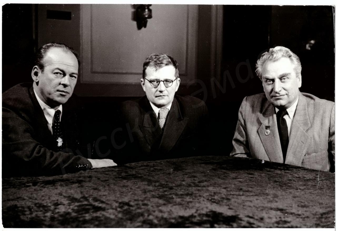 1950-е. Актёр Н.К. Черкасов, композитор Д.Д. Шостакович, режиссёр Г.В. Александров