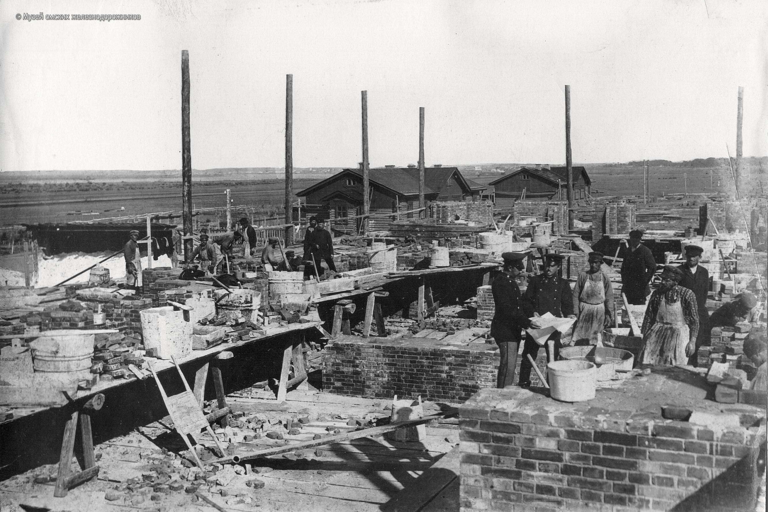 1894. Строительство первого капитального здания железнодорожного вокзала на ст. Омск