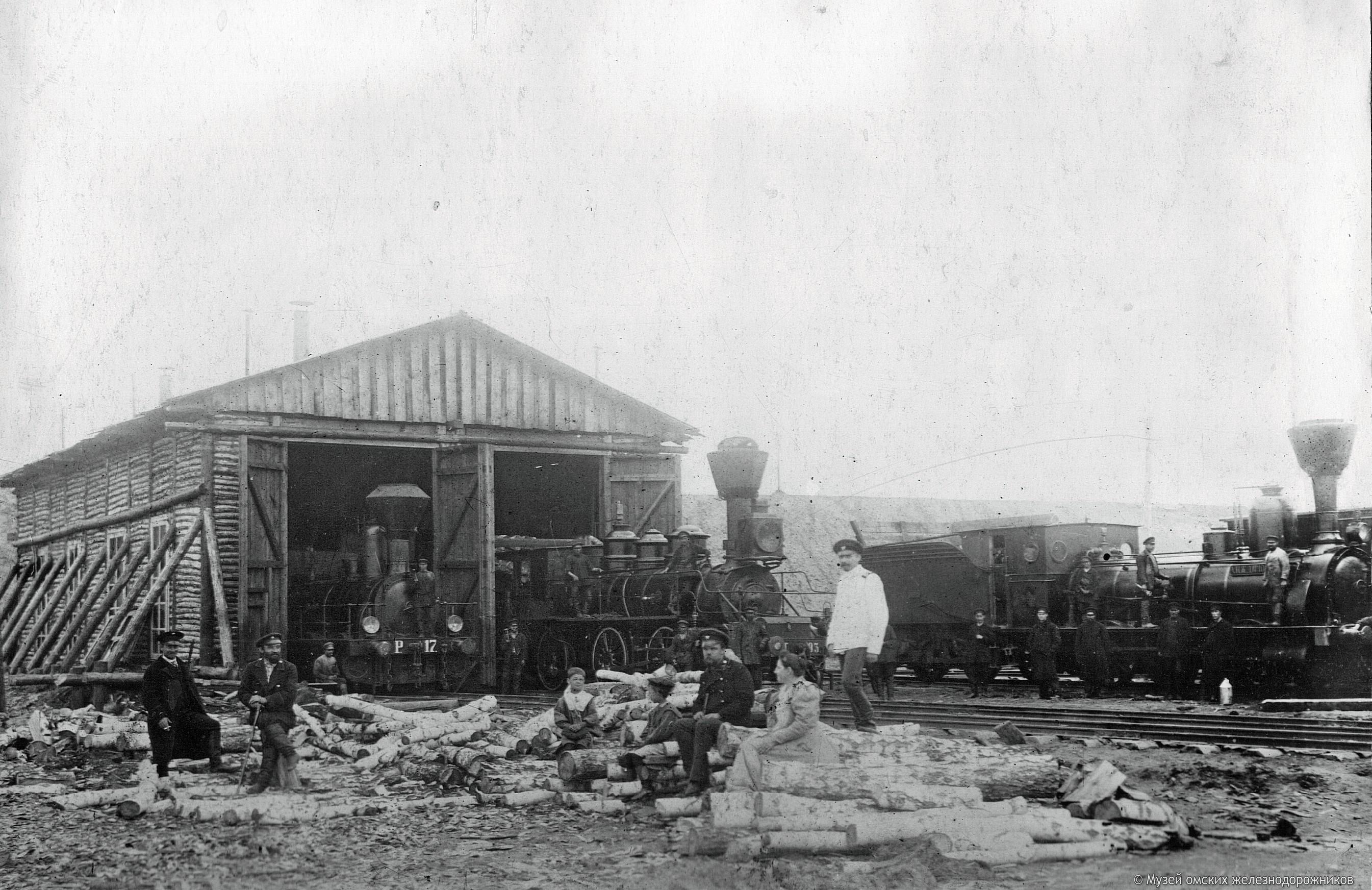 1895. Временное депо на левом берегу Иртыша