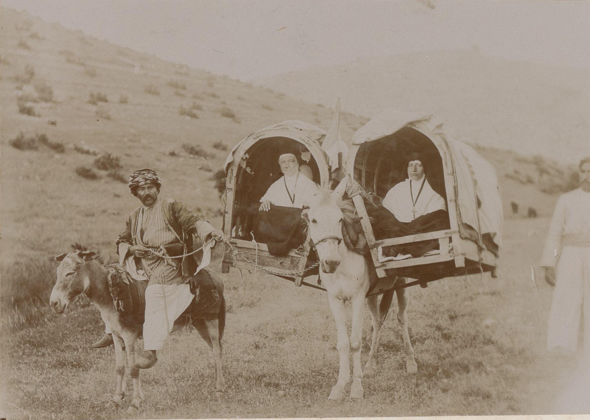 Махафа или корзины, помещенные на мулов для поездок в Месопотамию