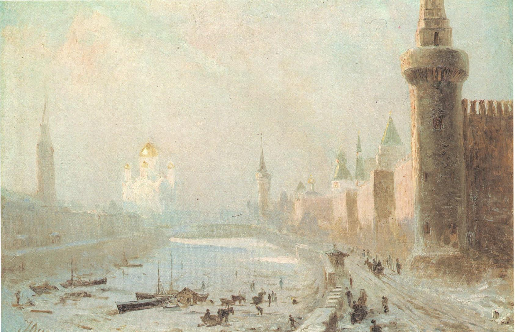 1860-е. Вид Кремля и Храма Христа Спасителя зимой