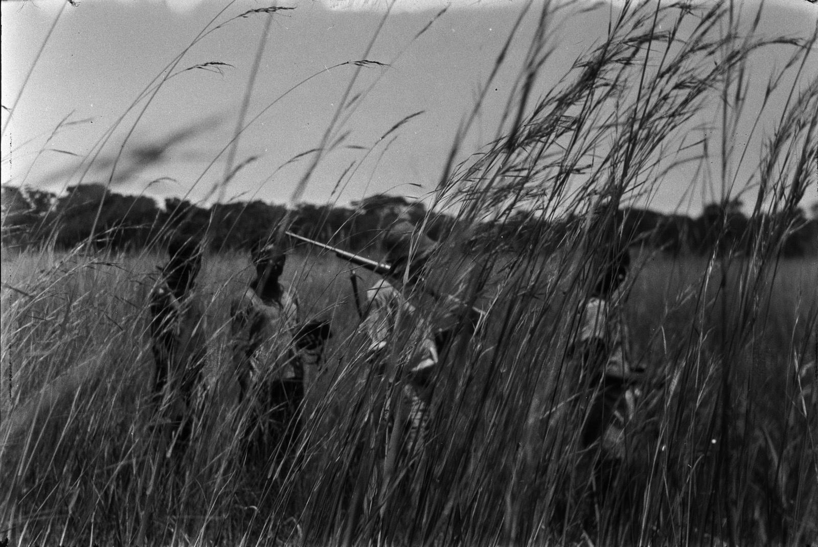 Между Капири Мпоши и рекой Лунсемфва. Группа людей в высокой траве дамбо