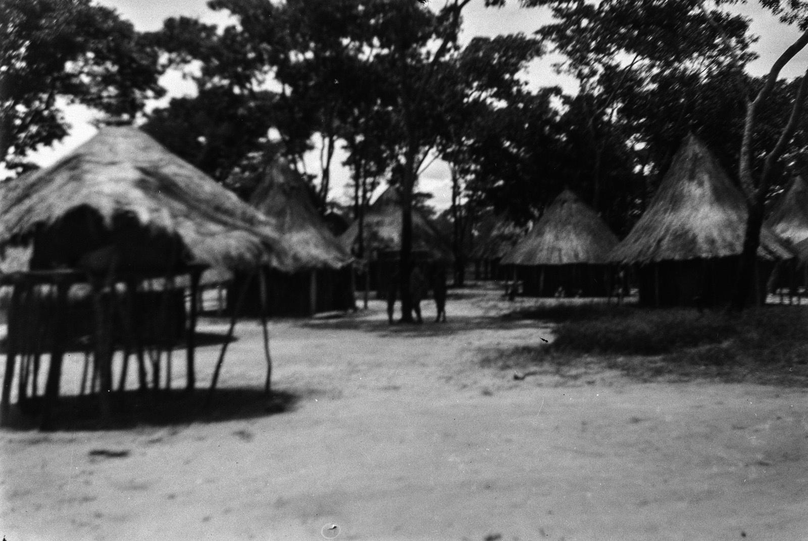 Между Капири Мпоши и рекой Лунсемфва. Деревня чеве, Рондавели и курятник слева
