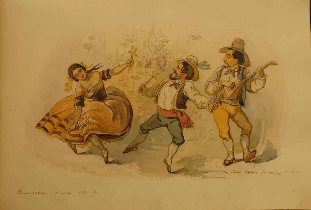 «Неистовая пляска» (Рядом с Глинкой изображен его неизменный спутник – музыкант Дон Педро)