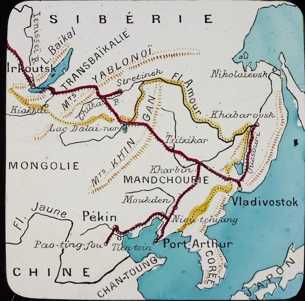 Карта маршрута поездки Анри Варколье из Пекина в Иркутск