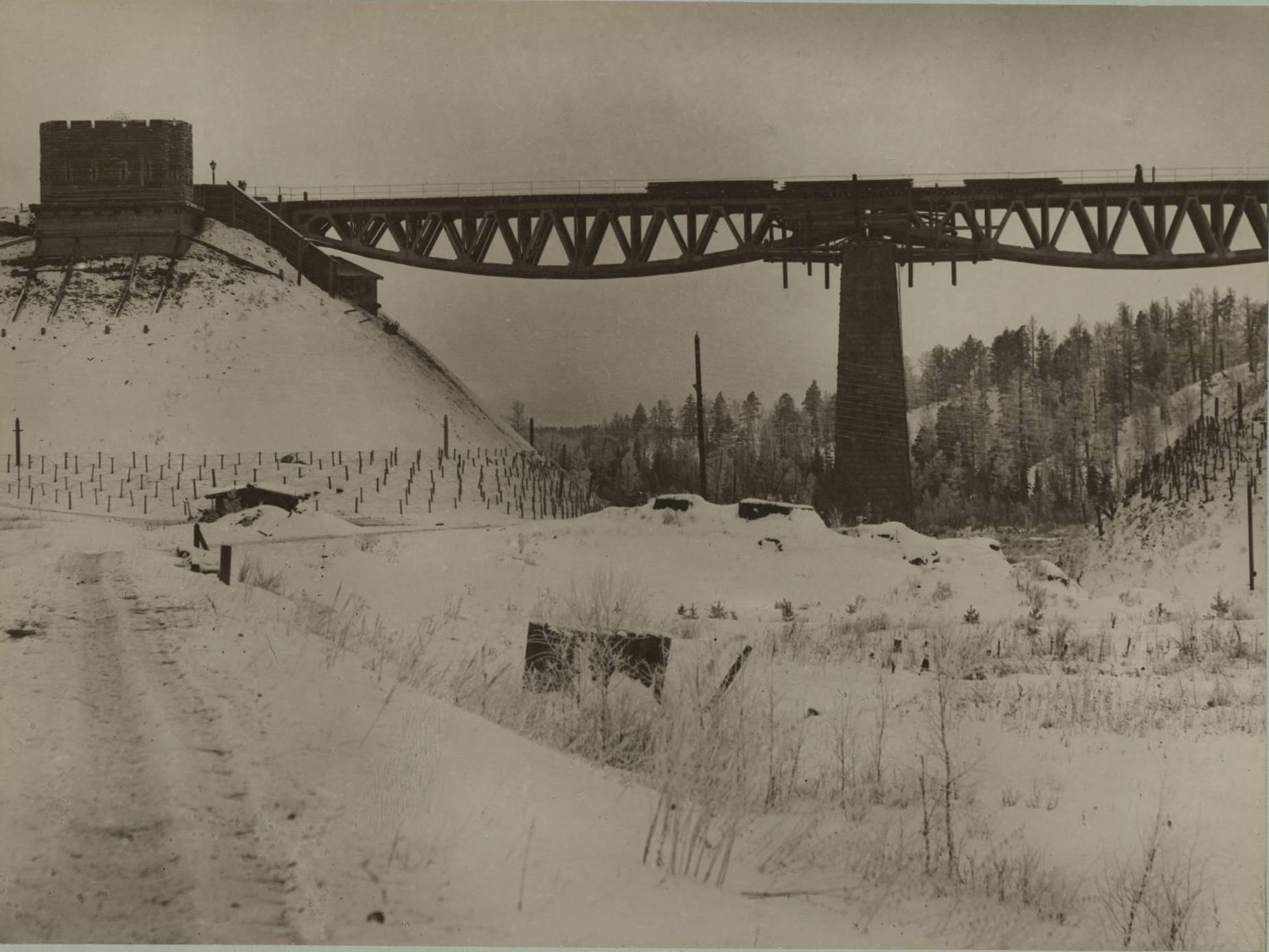 Мост, охраняемый батальоном возле станции Балай Енисейской губернии