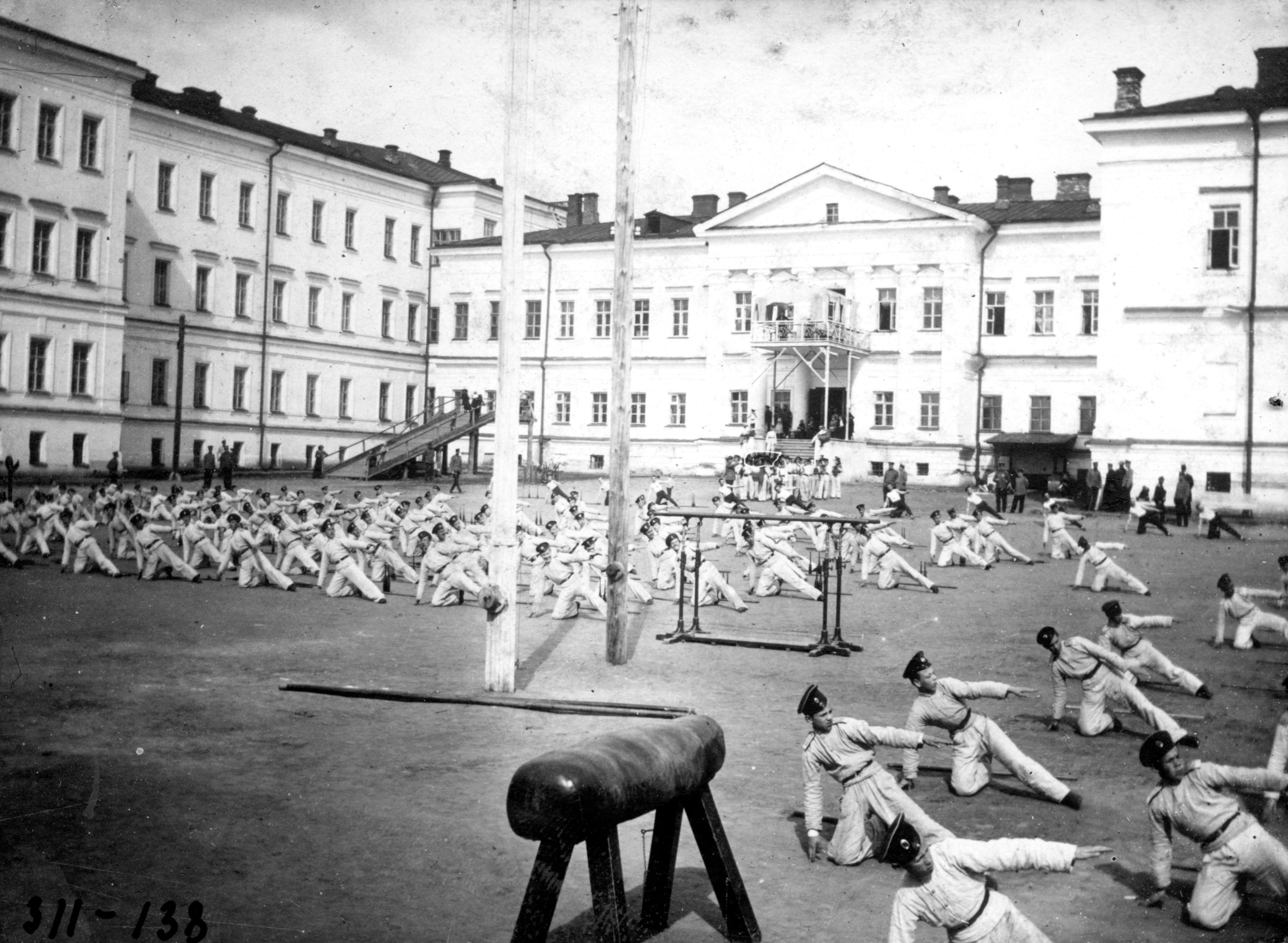 Сокольский праздник кадет во время юбилейных торжеств. Вольные движения. 2 мая 1911