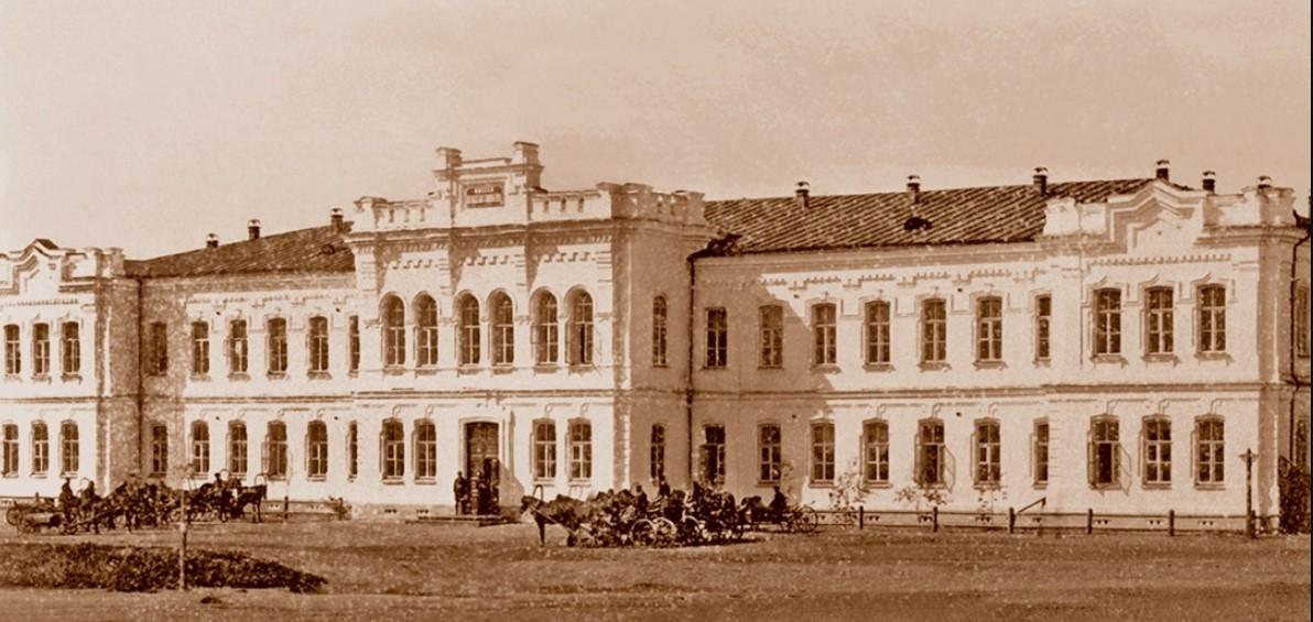 Здание 1-й женской гимназии почетных граждан Поповых на Базарной площади. 1882.