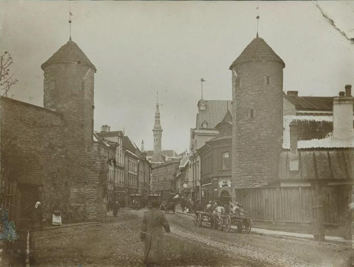 Вид на Вируские ворота и городскую ратушу