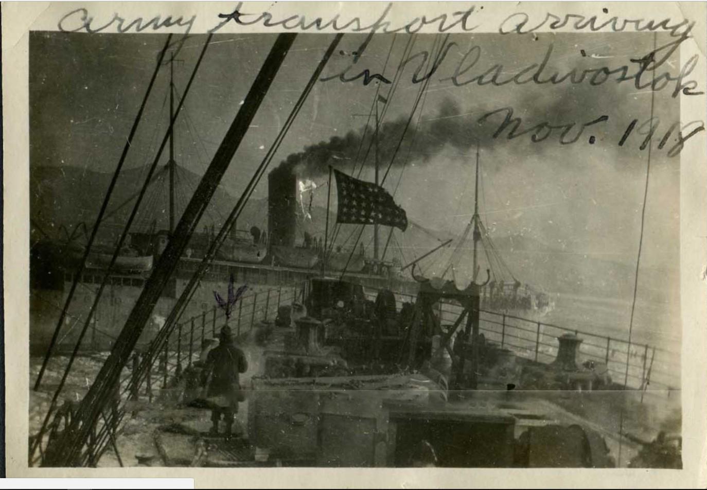 USAT «Sheridan» и USAT «Sherman» прибывают во Владивосток, ноябрь 1918