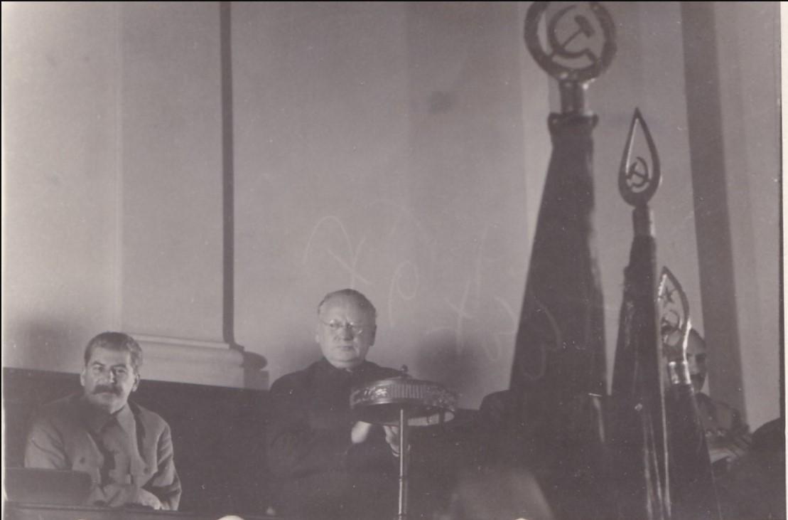 1936. Сталин и Литвинов в президиуме VIII Всесоюз.Съезда Советов