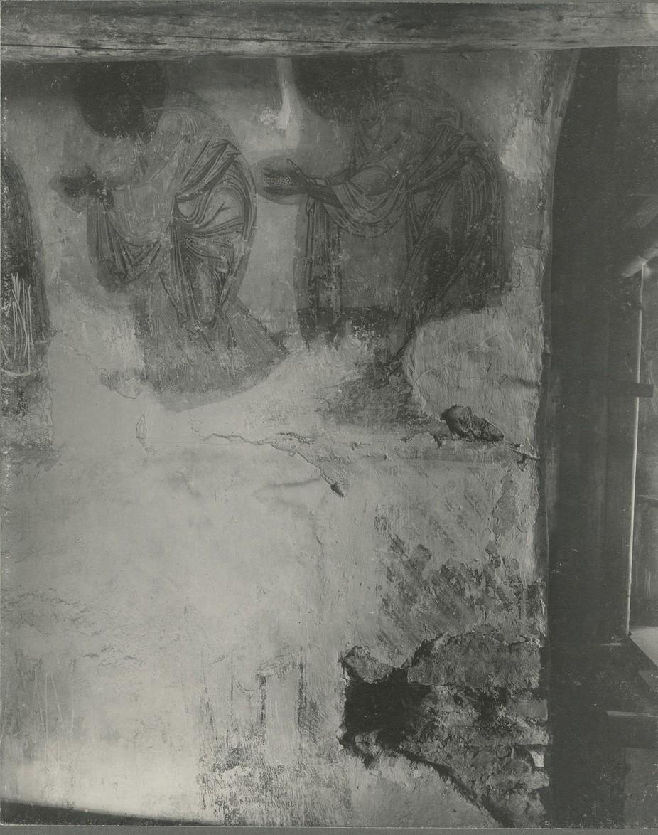 Роспись нижней части центральной апсиды Спасо-Преображенского собора Мирожского монастыря  до реставрации