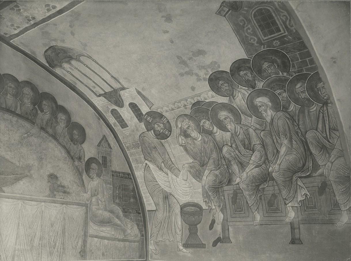 Фреска восточного склона западного свода Спасо-Преображенского собора Мирожского монастыря - «Омовение ног»