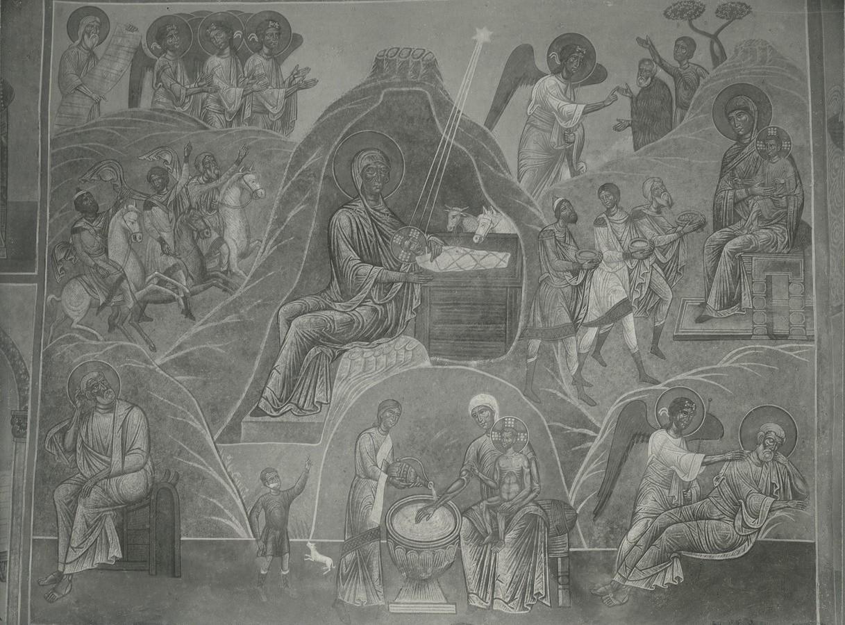Фреска южной ветви подкупольного креста Спасо-Преображенского собора Мирожского монастыря  -  «Рождество Христово»