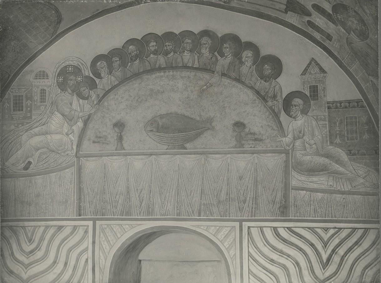 Фреска западной ветви подкупольного креста Спасо-Преображенского собора Мирожского монастыря  -  «Тайная вечеря»