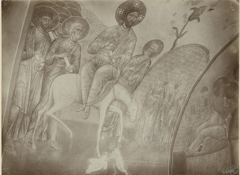 Фрески  «Вход в Иерусалим» Спасо-Преображенского собора Мирожского монастыря