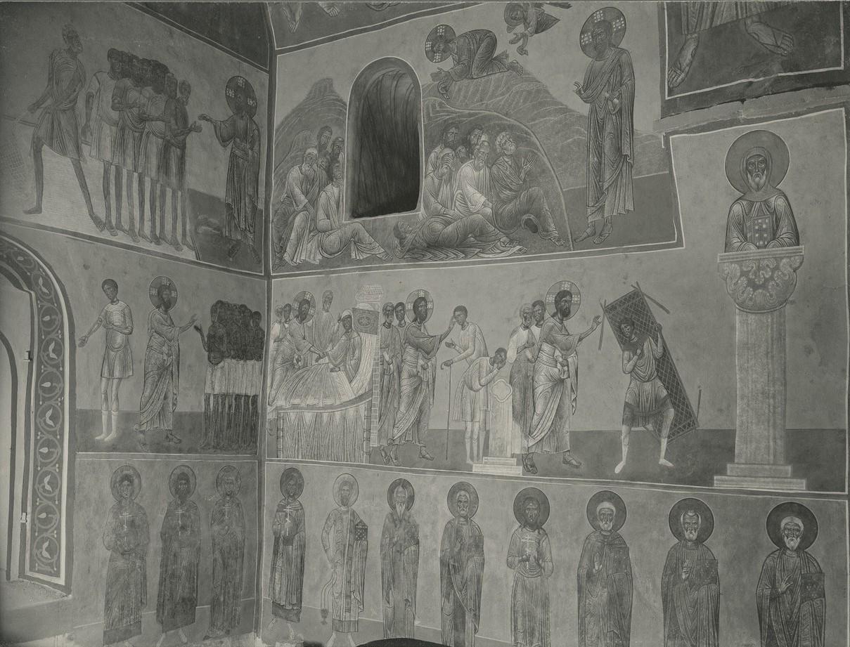 Фрески  «Моление в Гефсиманском саду», «Воскрешение дочери Иаира», «Исцеление слепорождённого», «Исцеление расслабленного», неизвестный столпник