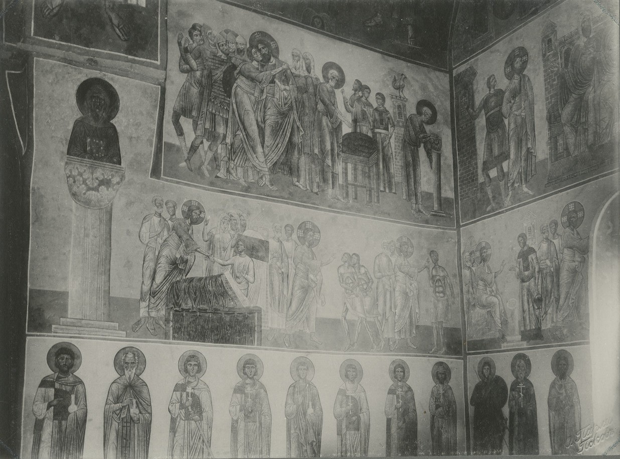 Фрески  «Предательство Иуды», «Отречение Петра», «Воскрешение сына вдовы в Наине», «Исцеление бесноватых», «Исцеление больного водянкой»