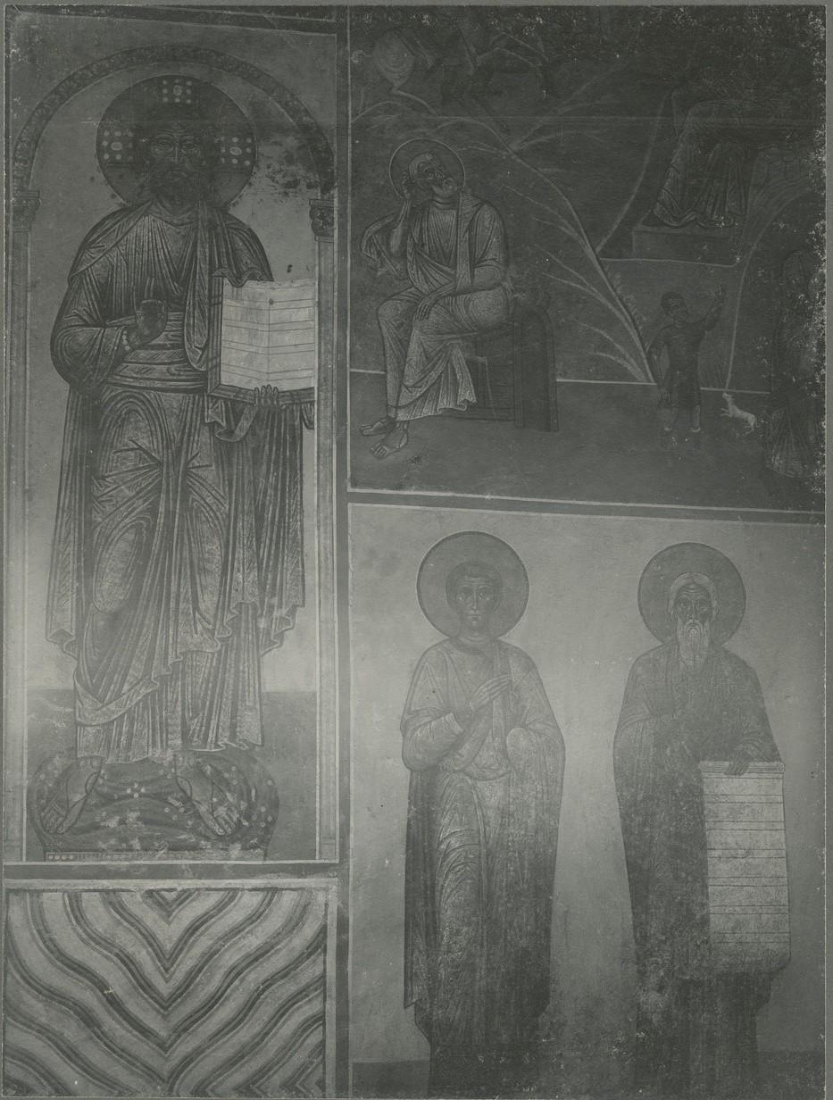 Фрески южной ветви подкупольного креста: Христос Элеймон (Милостивый) и фрагмент чина преподобных отцов