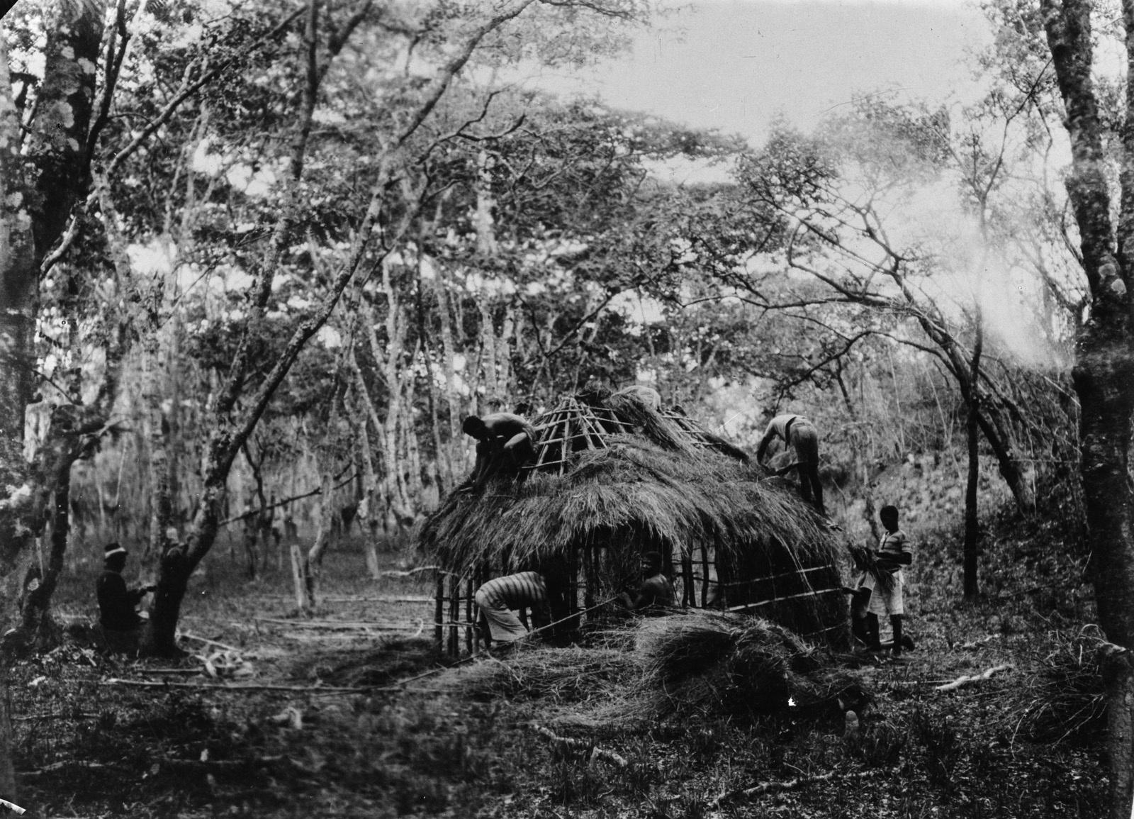 Н'Чанга. Строительство амбара в деревне банту