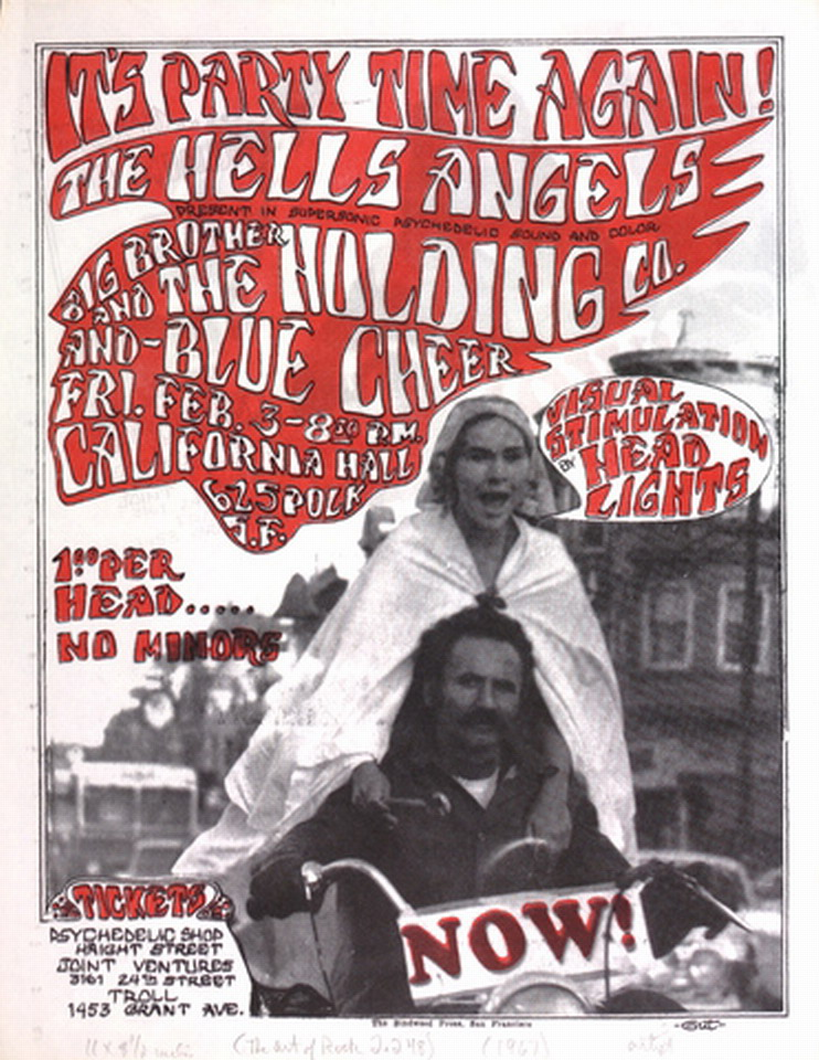 It's Party Time Again! The Hell's Angels present in supersonic psychedelic sound and color, Big Brother and the Holding Co., and Blue Cheer.