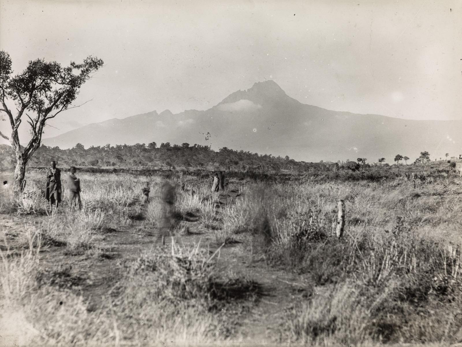 Пейзаж в окрестностях горы Килиманджаро. На заднем плане поднимается Мавензи