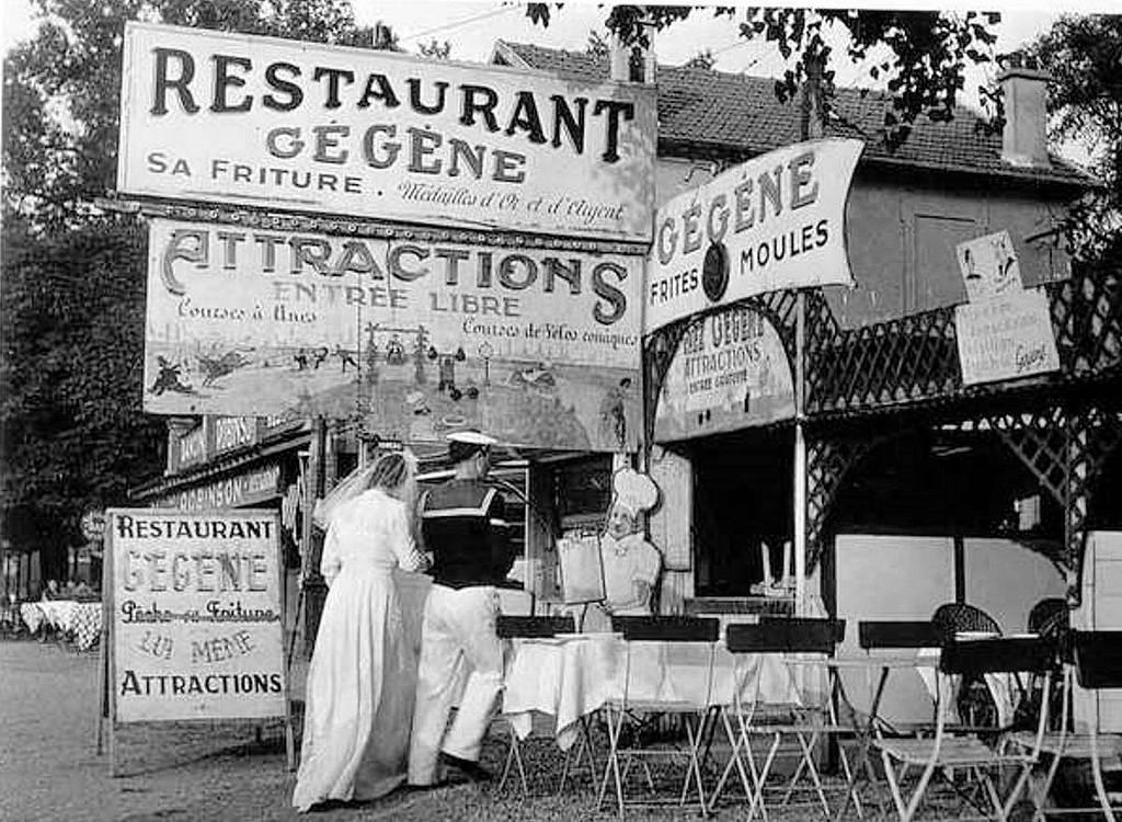 1946. Известный танцевальный зал под открытым небом «Ginguette Gegene» в Жуанвиль-ле-Пон, 1 января