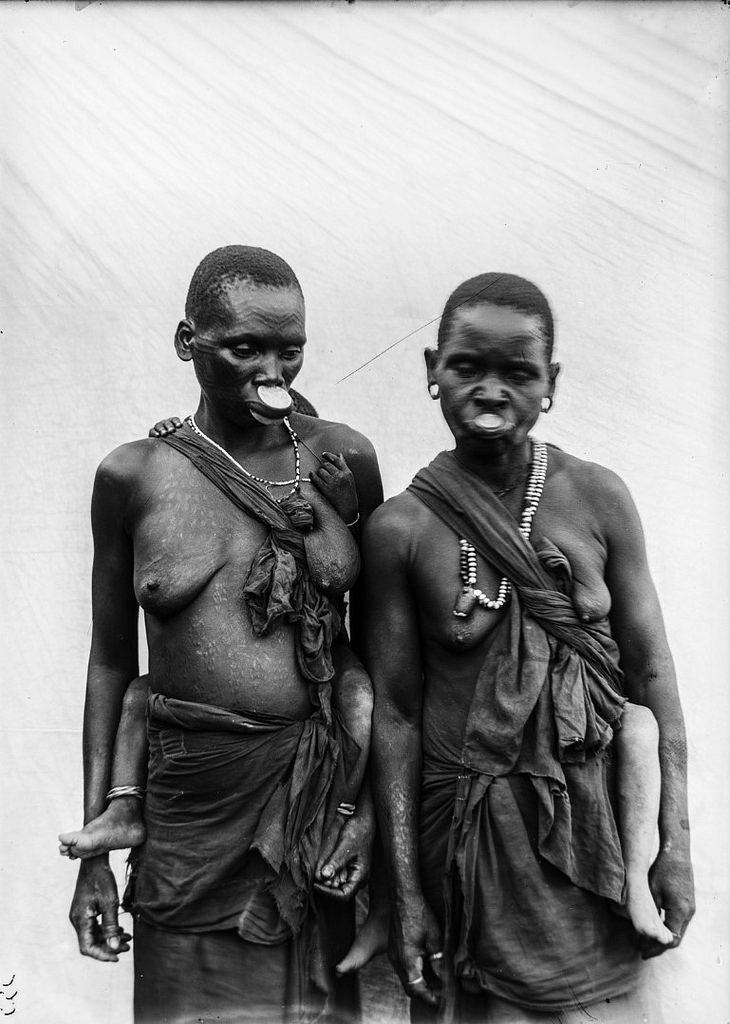 156. Антропометрическое изображение двух женщин маконде со своими детьми