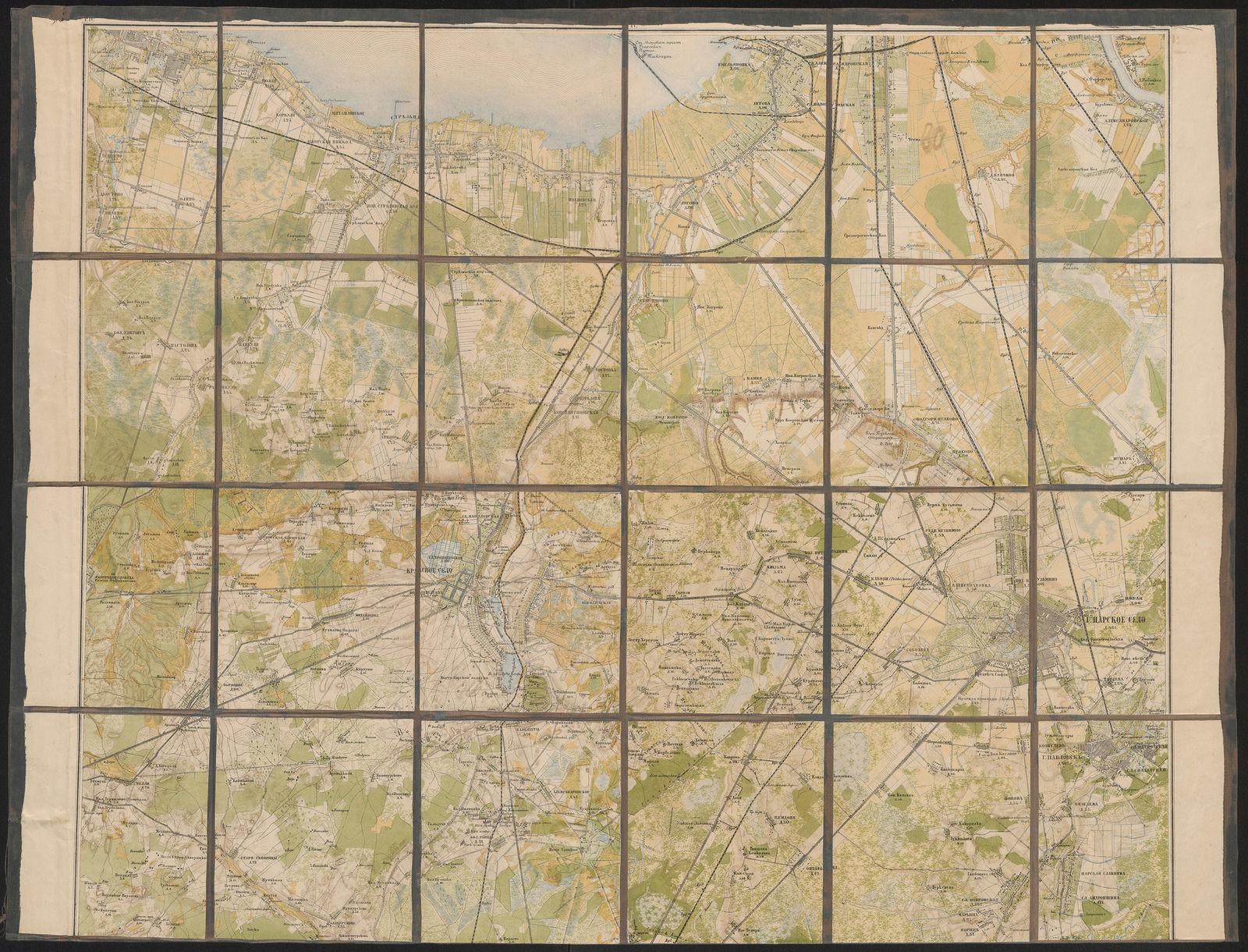Pietarin eteläpuoliset alueet, kartta